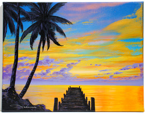 """Pier to Paradise"" Original Painting on 11"" x 14"" Canvas"