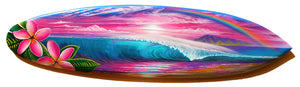 "30"" ""Plumeria's In The Morning"" Original Painting on Mini Surfboard"