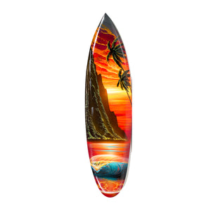"""Red Dawn Napali"" Original Painting on Mini Surfboard"