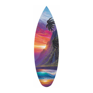"""Sunrise Over Kualoa"" Mini Surfboard Art Print"