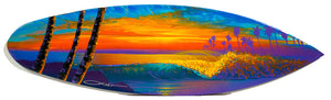 """Sunset Beach"" Original Painting on Mini Surfboard"