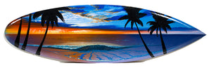 """Sunset Through the Rain"" Original Painting on Mini Surfboard - SeboArt.com"