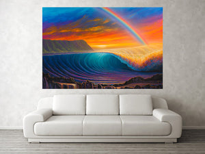 """Sunset At Shark's Cove""  Original Painting on 36"" x 48"" Canvas"
