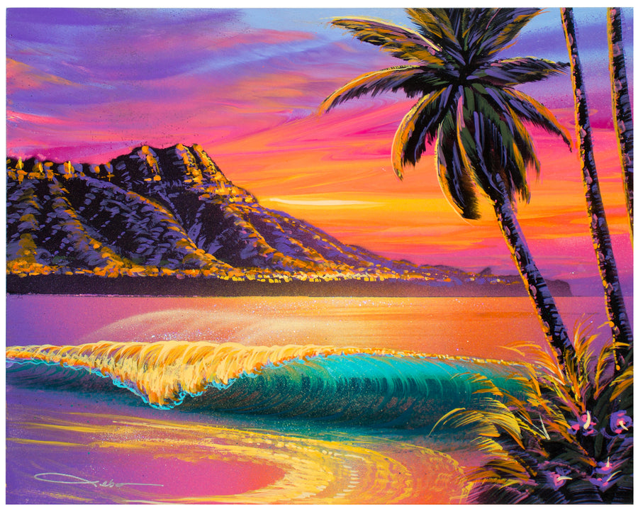 """Tropical Waikiki"" Original Painting on 11"" x 14"" Canvas"