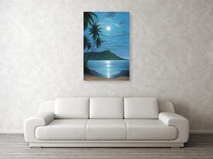 """Diamond Head Moon"" Original Painting SOLD - SeboArt.com"