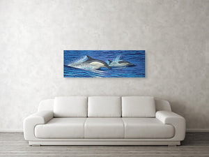 """Dolphin Blue"" Original Painting on 20""x 60"" Canvas"