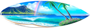 """Rainbow Over Diamond Head"" Original Painting on Mini Surfboard"
