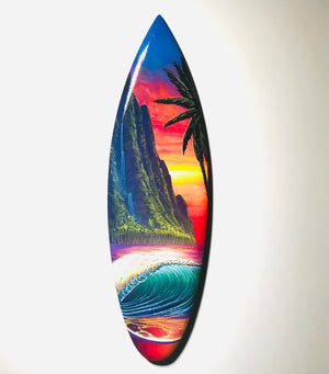 """Evening at the Cove"" 24 inch Mini wooden surfboard with FREE Tote Bag"