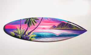"""Morning Surf"" 24 inch mini wooden surfboard with FREE Tote Bag"
