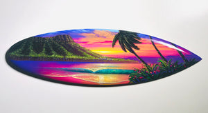 """Glow of Waikiki"" 24 inch Mini wooden surfboard with FREE Tote Bag"
