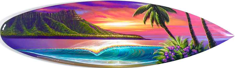 """Diamond Head Love"" Original Painting on Mini Surfboard"