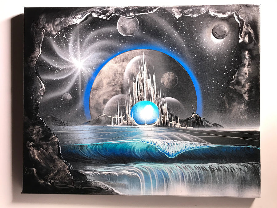 "Galactic Paradise original painting on 16"" x 20"" gallery wrapped canvas"