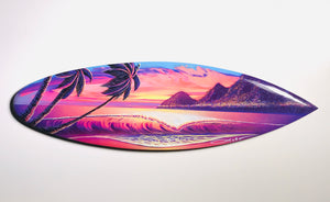 """Skittles"" 24 inch mini wooden surfboard with FREE Tote Bag"