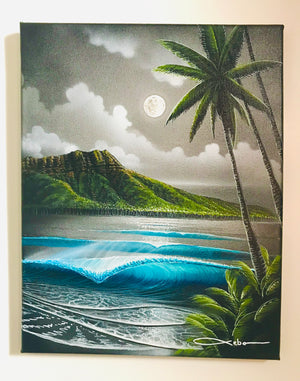 """Moon Beam Waikiki Original painting on "" 11"" X 14"" inch canvas with FREE Tote Bag"