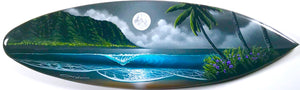 """North Shore Blue Moon"" Original Painting on Mini Surfboard"