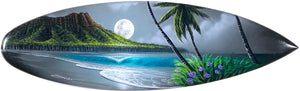 "30"" ""Diamond Head Romance"" Original Painting on Mini Surfboard"