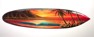 """Waikiki Love"" Original Painting on 40"" inch mini Wooden Surfboard"