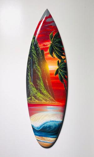"""Sunset Sanctuary"" 24 inch mini wooden surfboard with FREE Tote Bag"