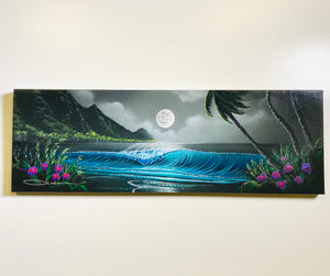 "8"" x 24"" ""The Happy Moon"" Original Painting on Canvas"