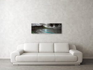 """Moon Rise Waikiki"" Original Painting on 12"" x 36"" Gesso Panel"