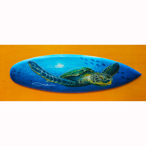 """Solo Honu"" Mini Surfboard Art Print"