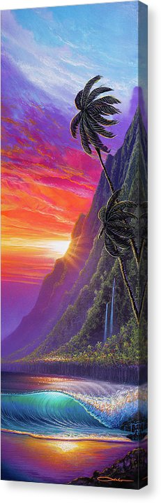 """Sunrise over Kualoa"" (SOLD) Original Painting on 10"" x 30"" Canvas"