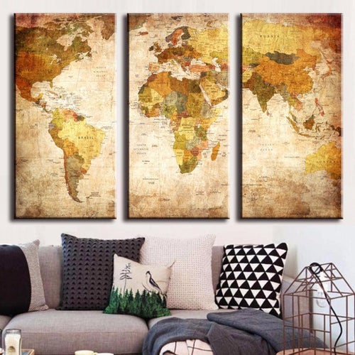 Vintage World Map Panel Canvas