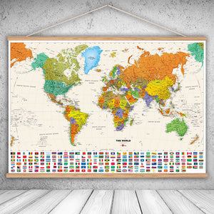 Canvas Oil Prints World Map (With Frame)