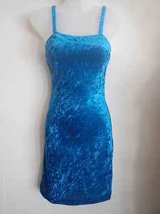 Blue velvet mini dress