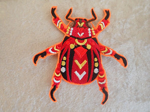 Scarab beetle iron on patch