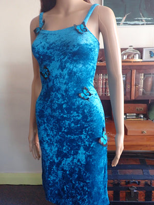 Blue velvet dress with butterflies