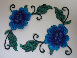 Blue rose applique
