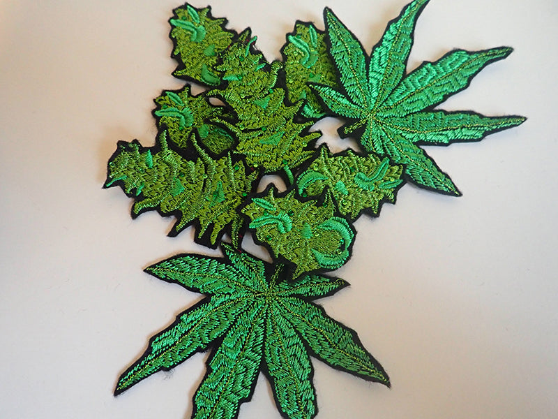 Embroidered cannabis iron on patches