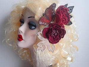 Lace rose fascinator