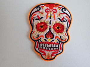 Candy skull iron on patch
