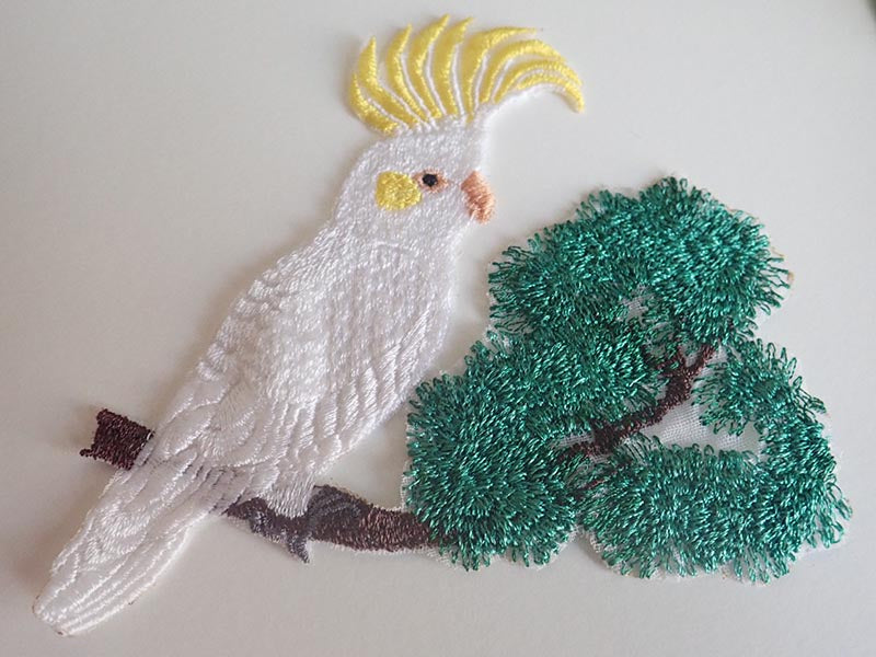 Cockatoo embroidered applique