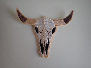 Cow skull iron on patch