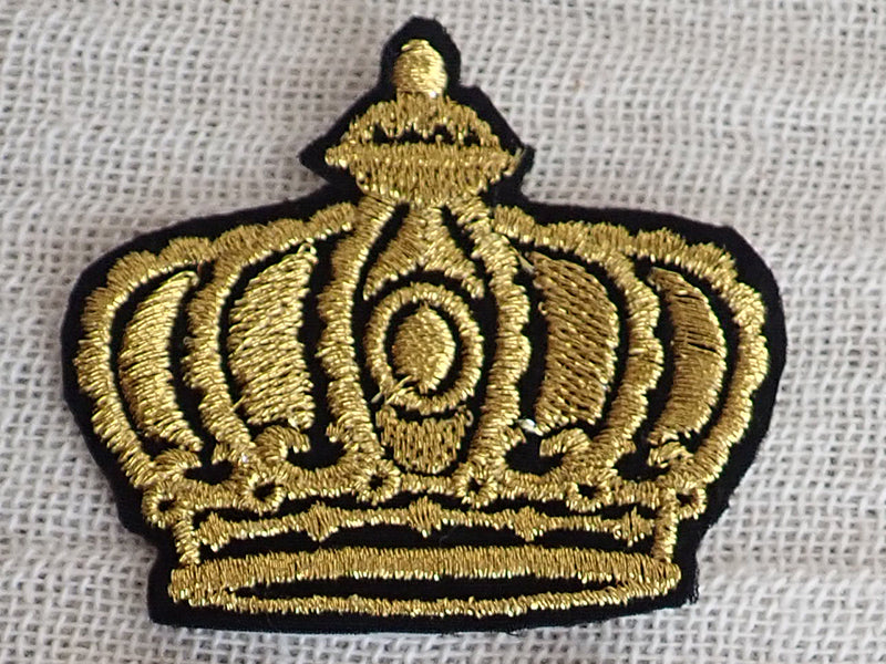 Gold crown embroidered applique