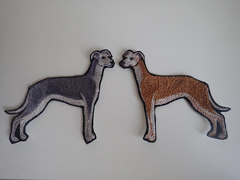 Embroidered greyhound iron on patches