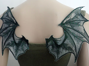 Green Dragon wings, sew on appliques