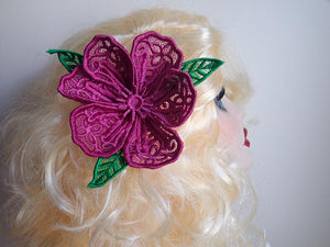 Pink lace flower fascinator