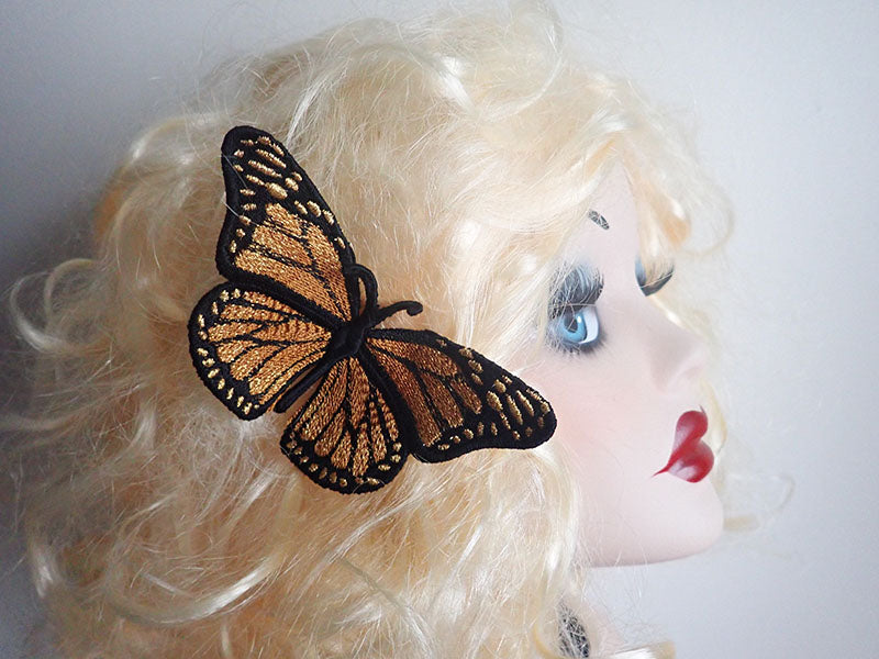 Gold Monarch butterfly Hair clip