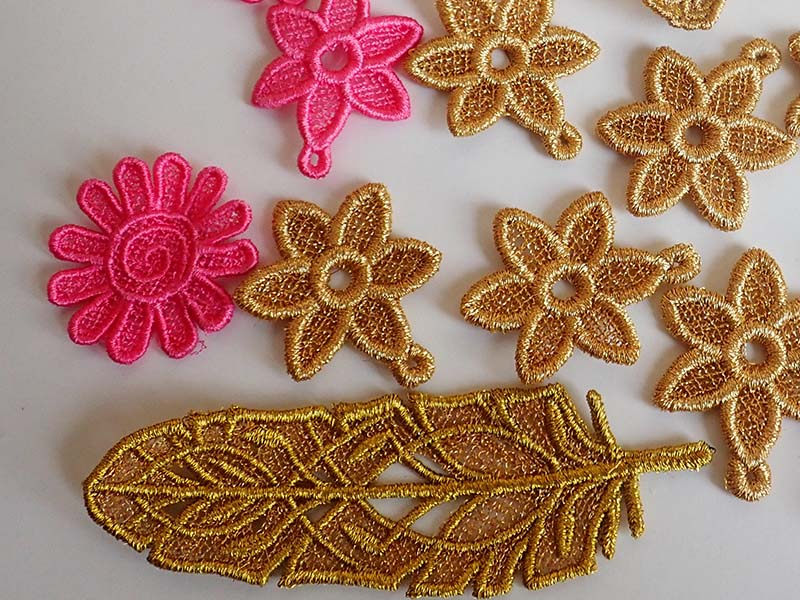 Gold lace flowers