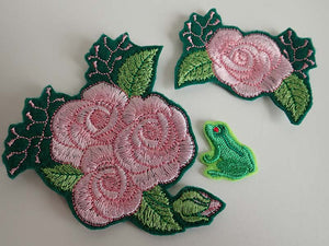 Pink roses iron on patch