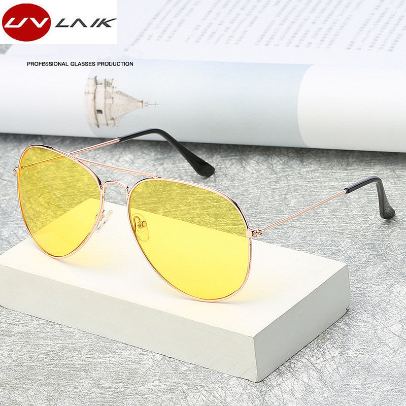 UVLAIK Pilot Aviation Night Vision Sunglasses Men Women Goggles Glasses UV400 Sun Glasses Driver Night Driving Eyewear
