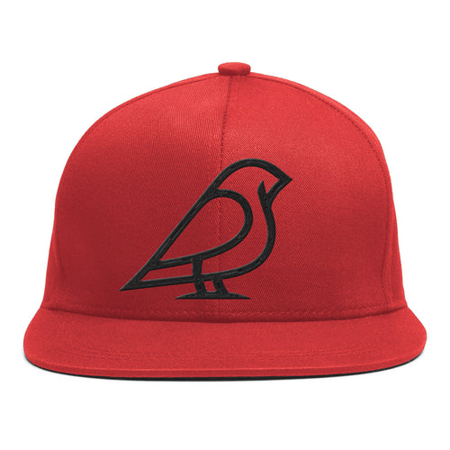 BIRB BLACK ON RED ICON SNAPBACK -
