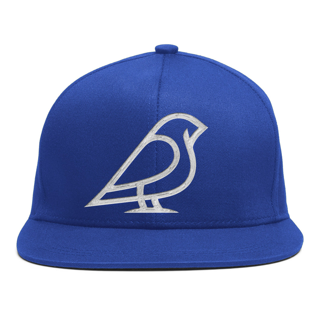 BIRB WHITE ON BLUE ICON SNAPBACK -