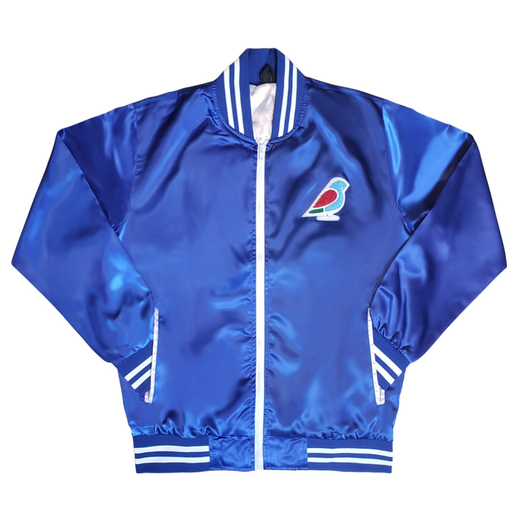 MENS SATIN VARSITY JACKET BLUE