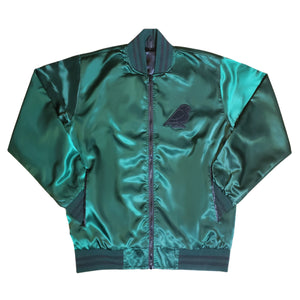 MEN'S SATIN VARSITY JACKET GREEN