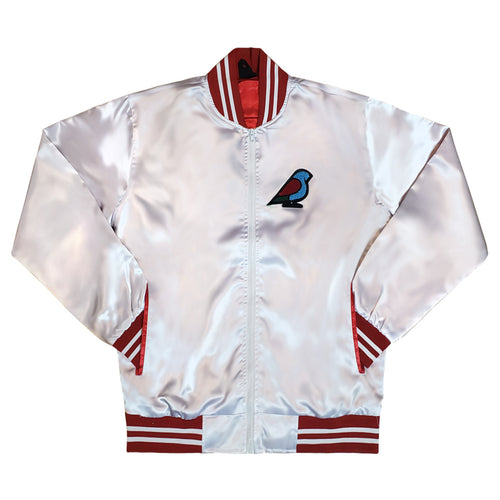 MENS SATIN VARSITY JACKET WHITE